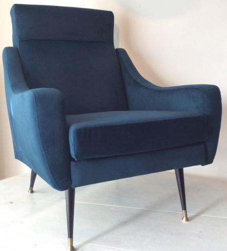Fauteuil 60's Bleu Canard