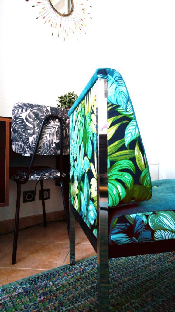 Chauffeuse vintage rénovée tapisserie d'ameublement la Rochelle